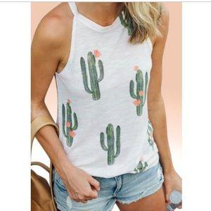 White Cactus Print Tank
